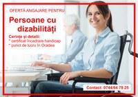 Ofertă de loc de muncă pentru persoane cu dizabilități